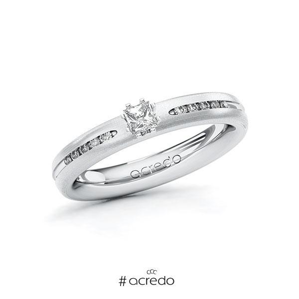 Verlobungsring in Weißgold 585 mit zus. 0,23 ct. Prinzess-Diamant tw, si von acredo