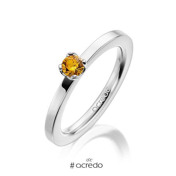 Verlobungsring in Weißgold 585 mit zus. 0,25 ct. Brillant Saphir Gelb (A 8) von acredo