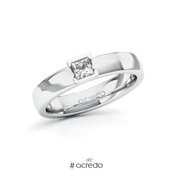 Verlobungsring in Weißgold 585 mit zus. 0,25 ct. Prinzess-Diamant tw, si von acredo