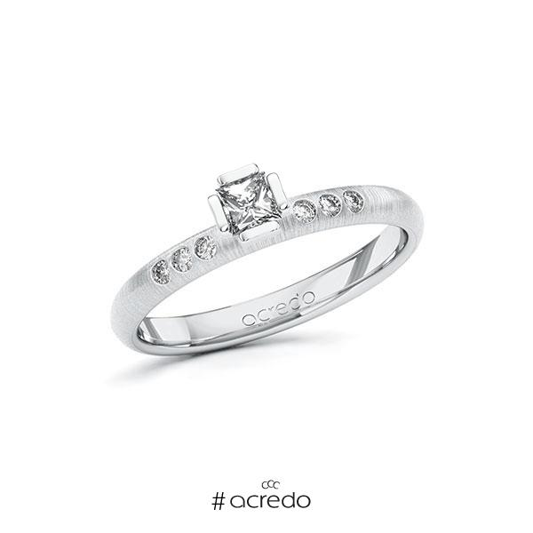 Verlobungsring in Weißgold 585 mit zus. 0,26 ct. Prinzess-Diamant tw, si von acredo