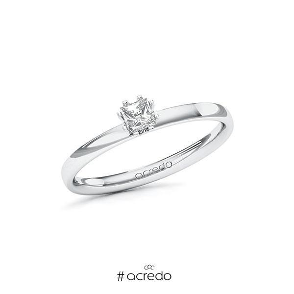 Verlobungsring in Weißgold 585 mit zus. 0,2 ct. Prinzess-Diamant tw, vs von acredo