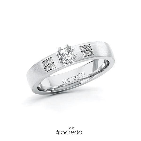 Verlobungsring in Weißgold 585 mit zus. 0,314 ct. Prinzess-Diamant tw, si von acredo