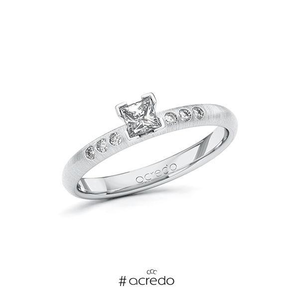 Verlobungsring in Weißgold 585 mit zus. 0,31 ct. Prinzess-Diamant tw, si von acredo