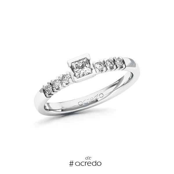 Verlobungsring in Weißgold 585 mit zus. 0,32 ct. Prinzess-Diamant tw, si von acredo