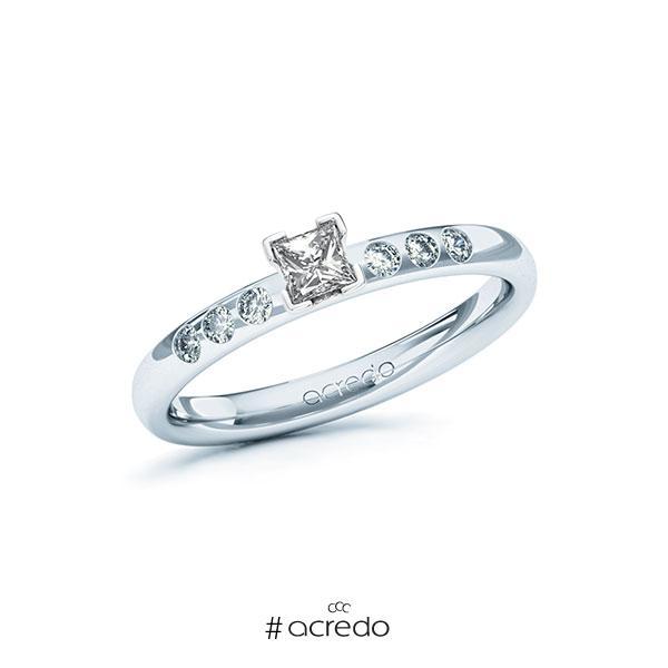 Verlobungsring in Weißgold 585 mit zus. 0,32 ct. Prinzess-Diamant tw, vs tw, si von acredo