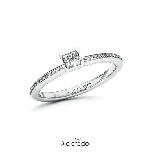 Verlobungsring in Weißgold 585 mit zus. 0,33 ct. Prinzess-Diamant tw, si von acredo