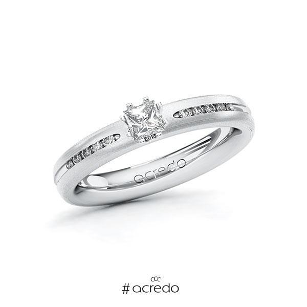Verlobungsring in Weißgold 585 mit zus. 0,33 ct. Prinzess-Diamant tw, vs tw, si von acredo
