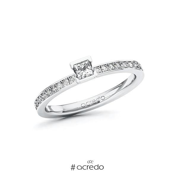 Verlobungsring in Weißgold 585 mit zus. 0,35 ct. Prinzess-Diamant tw, si von acredo