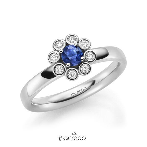 Verlobungsring in Weißgold 585 mit zus. 0,37 ct. Brillant Saphir Blau (A 10) tw, si von acredo
