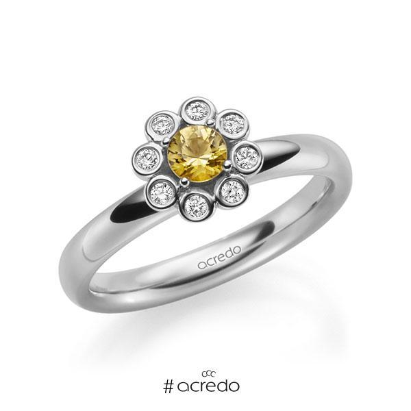 Verlobungsring in Weißgold 585 mit zus. 0,37 ct. Brillant Saphir Gelb (A 8) tw, si von acredo