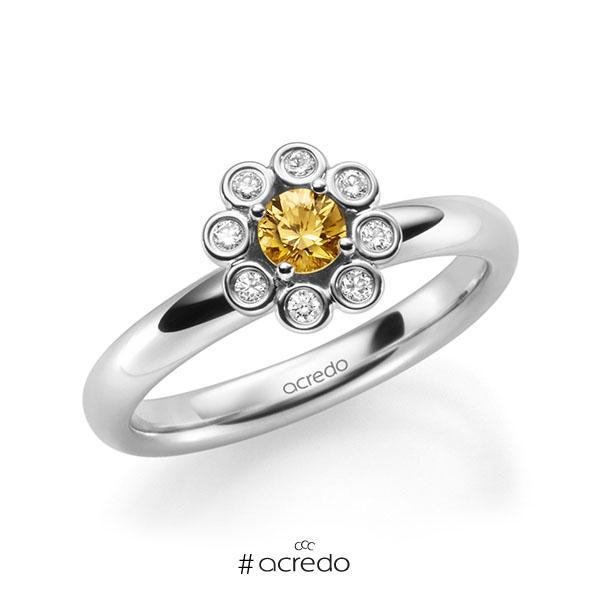 Verlobungsring in Weißgold 585 mit zus. 0,37 ct. Brillant Saphir Orange (A 12) tw, si von acredo