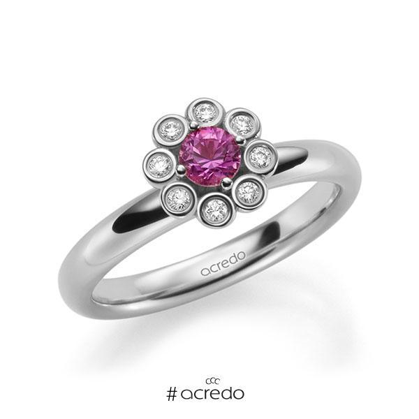 Verlobungsring in Weißgold 585 mit zus. 0,37 ct. Brillant Saphir Pink (A 10) tw, si von acredo