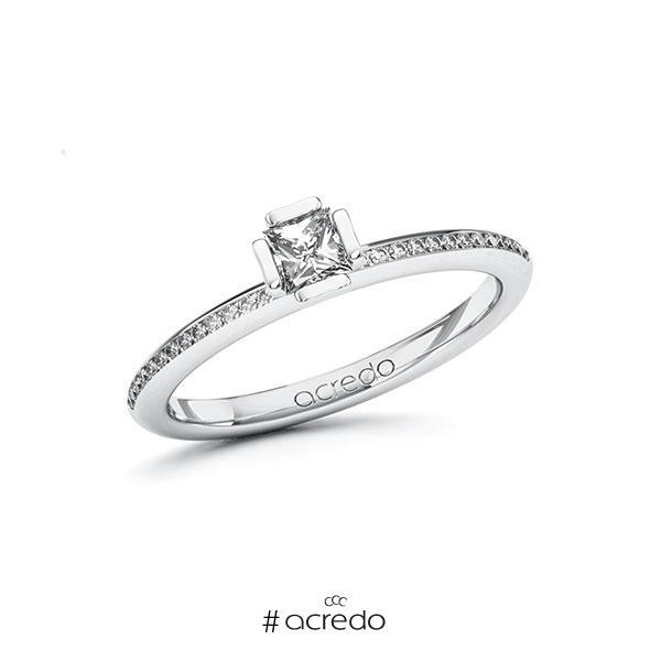 Verlobungsring in Weißgold 585 mit zus. 0,38 ct. Prinzess-Diamant tw, si von acredo
