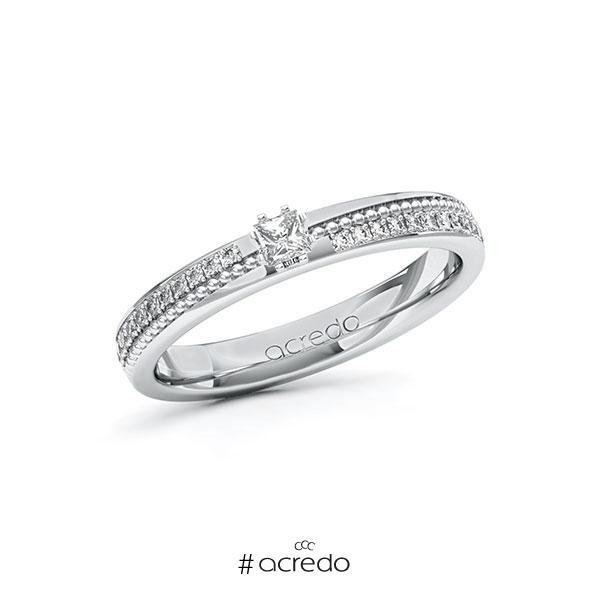 Verlobungsring in Weißgold 585 mit zus. 0,396 ct. Prinzess-Diamant tw, vs tw, si von acredo