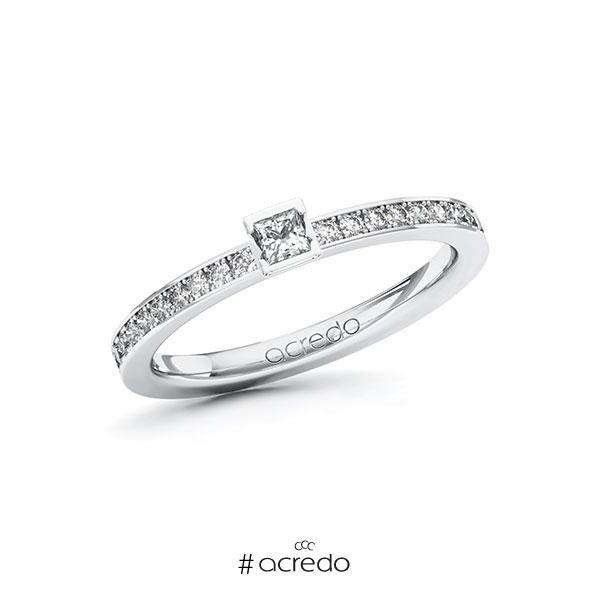 Verlobungsring in Weißgold 585 mit zus. 0,3 ct. Prinzess-Diamant tw, si von acredo