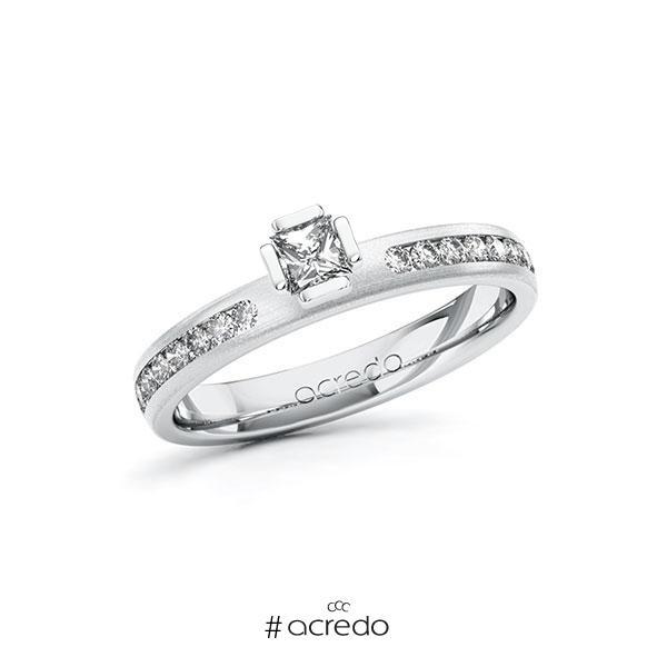 Verlobungsring in Weißgold 585 mit zus. 0,44 ct. Prinzess-Diamant tw, si von acredo