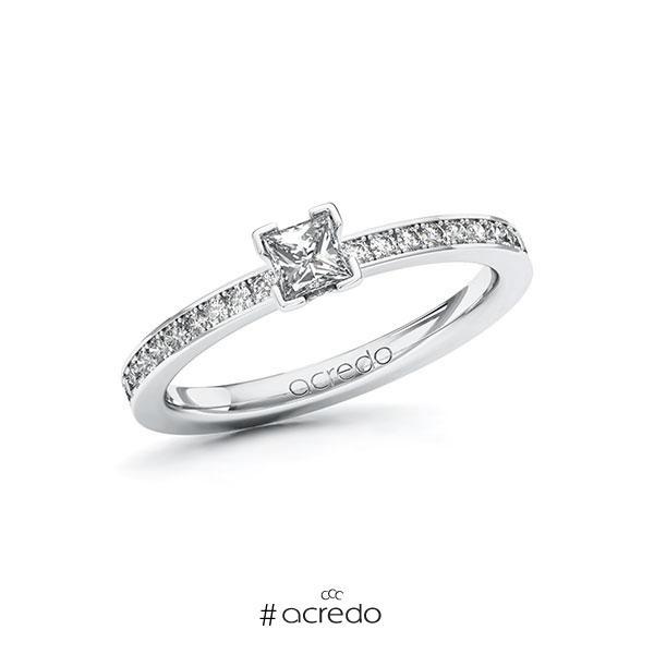 Verlobungsring in Weißgold 585 mit zus. 0,45 ct. Prinzess-Diamant tw, si von acredo