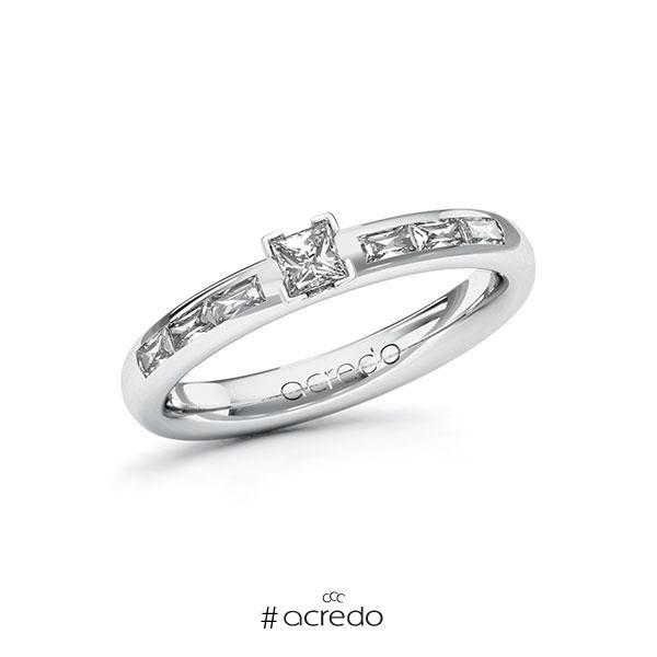 Verlobungsring in Weißgold 585 mit zus. 0,45 ct. Prinzess-Diamant tw, vs von acredo