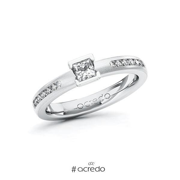 Verlobungsring in Weißgold 585 mit zus. 0,46 ct. Prinzess-Diamant tw, si von acredo