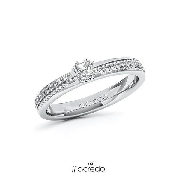 Verlobungsring in Weißgold 585 mit zus. 0,496 ct. Prinzess-Diamant tw, vs tw, si von acredo