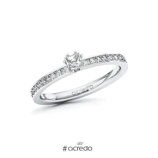 Verlobungsring in Weißgold 585 mit zus. 0,4 ct. Prinzess-Diamant tw, si von acredo