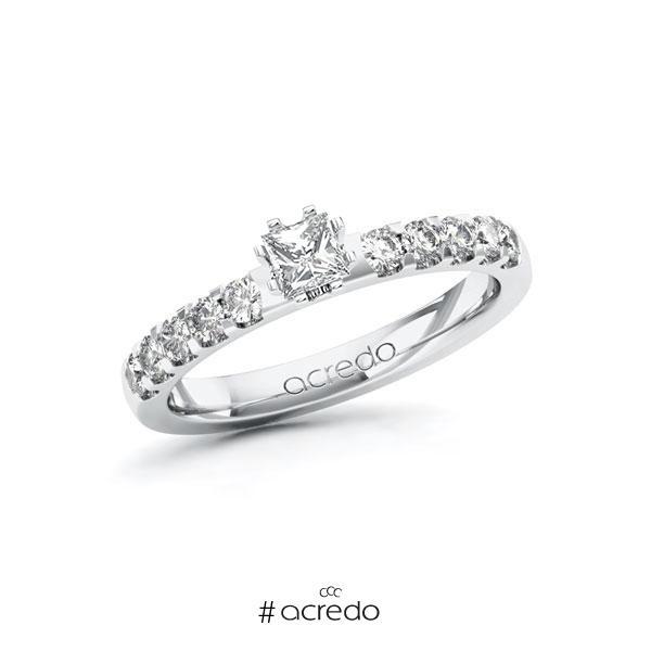 Verlobungsring in Weißgold 585 mit zus. 0,55 ct. Prinzess-Diamant tw, si von acredo