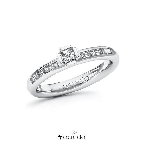Verlobungsring in Weißgold 585 mit zus. 0,5 ct. Prinzess-Diamant tw, vs von acredo