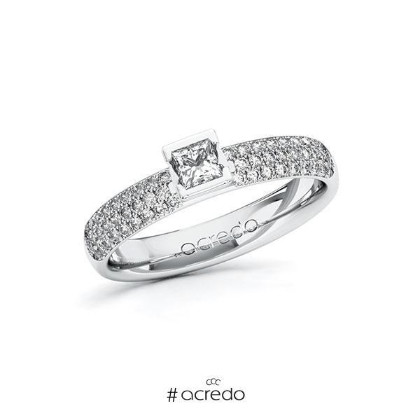 Verlobungsring in Weißgold 585 mit zus. 0,632 ct. Prinzess-Diamant tw, si von acredo