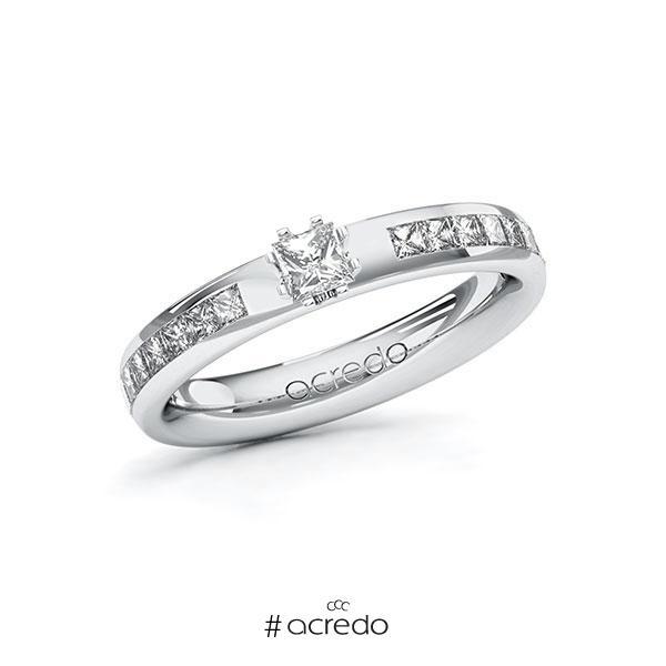 Verlobungsring in Weißgold 585 mit zus. 0,68 ct. Prinzess-Diamant tw, si von acredo