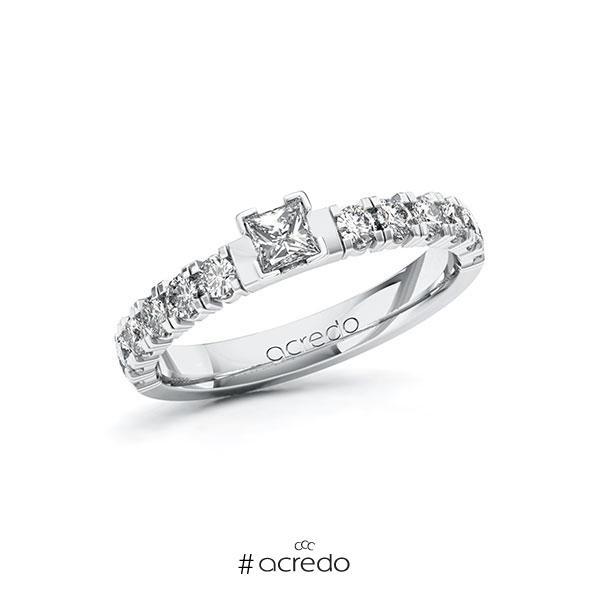 Verlobungsring in Weißgold 585 mit zus. 0,68 ct. Prinzess-Diamant tw, vs tw, si von acredo