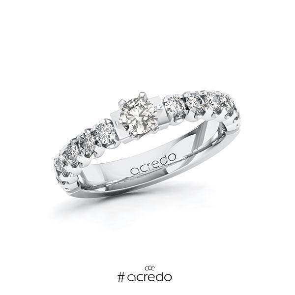 Verlobungsring in Weißgold 585 mit zus. 0,85 ct. tw, si von acredo