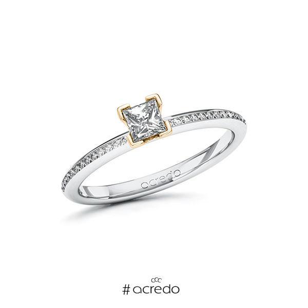 Verlobungsring in Weißgold 585 Roségold 585 mit 0,3 ct. + zus. 0,13 ct. Prinzess-Diamant tw, vs tw, si von acredo