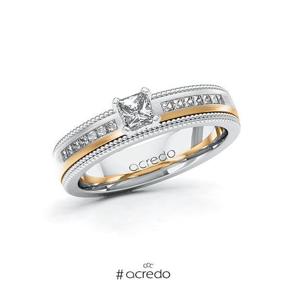 Verlobungsring in Weißgold 585 Roségold 585 mit 0,3 ct. + zus. 0,42 ct. Brillant tw, vs tw, si von acredo