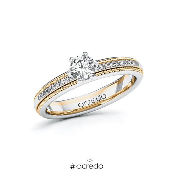 Verlobungsring in Weißgold 585 Roségold 585 mit 0,4 ct. + zus. 0,09 ct. Brillant tw, si von acredo
