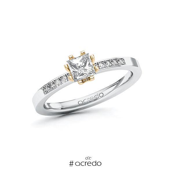 Verlobungsring in Weißgold 585 Roségold 585 mit 0,5 ct. + zus. 0,1 ct. Prinzess-Diamant tw, vs tw, si von acredo