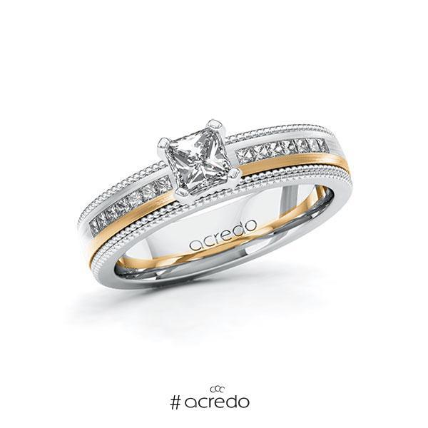 Verlobungsring in Weißgold 585 Roségold 585 mit 0,5 ct. + zus. 0,42 ct. Brillant tw, vs tw, si von acredo