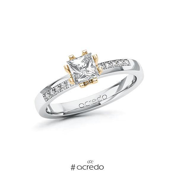Verlobungsring in Weißgold 585 Roségold 585 mit 0,7 ct. + zus. 0,1 ct. Prinzess-Diamant tw, vs tw, si von acredo