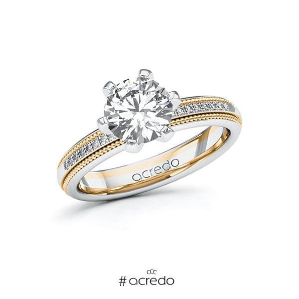 Verlobungsring in Weißgold 585 Roségold 585 mit 1,5 ct. + zus. 0,09 ct. Brillant tw, si von acredo