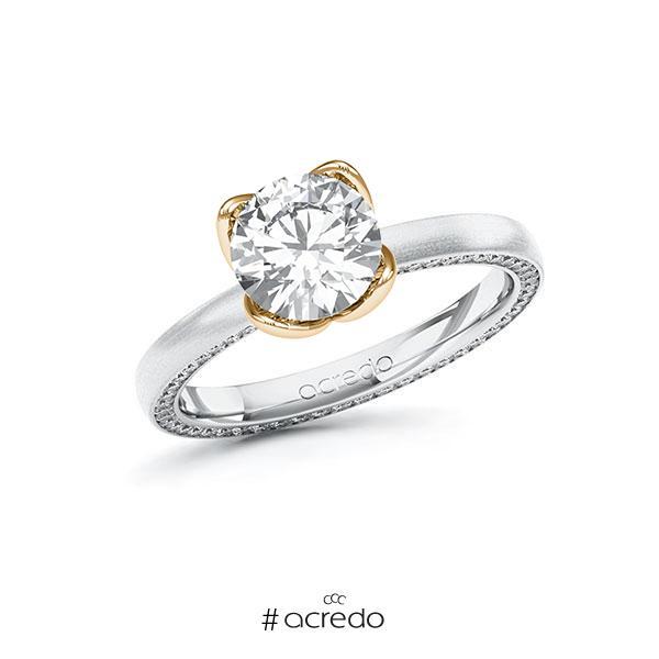 Verlobungsring in Weißgold 585 Roségold 585 mit 1,5 ct. + zus. 0,29 ct. Brillant tw, vs tw, si von acredo