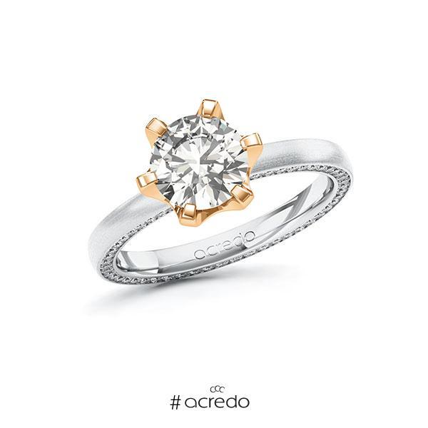 Verlobungsring in Weißgold 585 Roségold 585 mit 1,5 ct. + zus. 0,29 ct. tw, vs tw, si von acredo