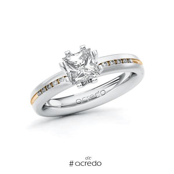 Verlobungsring in Weißgold 585 Roségold 585 mit 1 ct. + zus. 0,08 ct. Prinzess-Diamant tw, vs tw, si von acredo