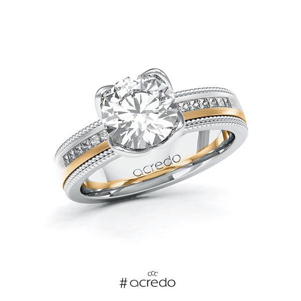 Verlobungsring in Weißgold 585 Roségold 585 mit 2 ct. + zus. 0,42 ct. Brillant tw, vs tw, si von acredo