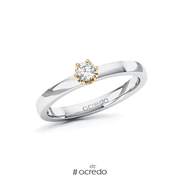 Verlobungsring in Weißgold 585 Roségold 585 mit zus. 0,15 ct. Brillant tw, si von acredo