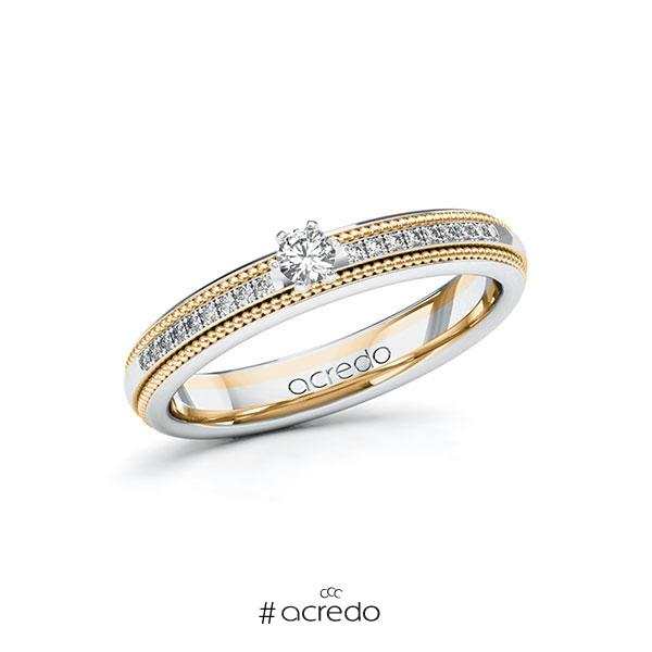 Verlobungsring in Weißgold 585 Roségold 585 mit zus. 0,19 ct. Brillant tw, si von acredo