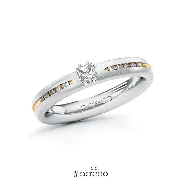 Verlobungsring in Weißgold 585 Roségold 585 mit zus. 0,23 ct. Prinzess-Diamant tw, si von acredo