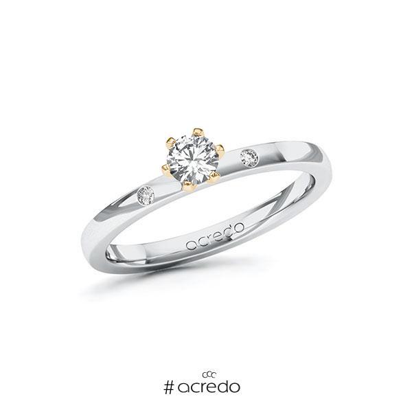 Verlobungsring in Weißgold 585 Roségold 585 mit zus. 0,27 ct. Brillant tw, si von acredo