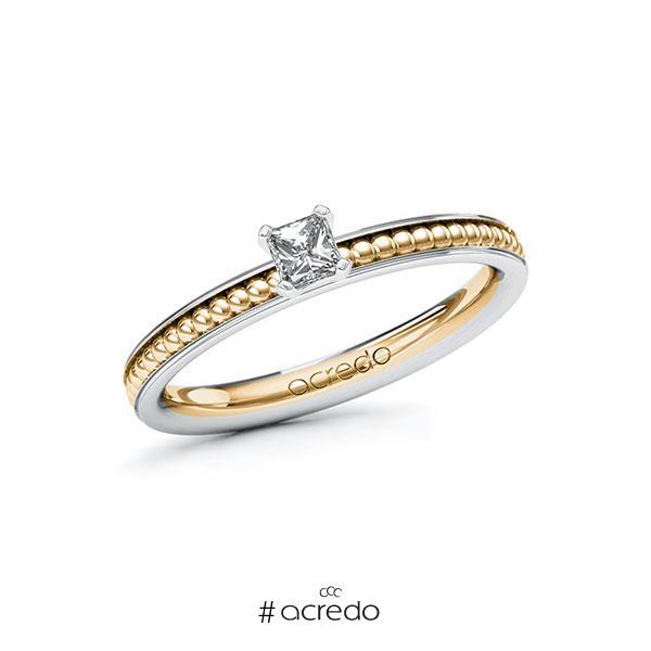 Verlobungsring in Weißgold 585 Roségold 585 mit zus. 0,2 ct. Brillant tw, vs von acredo