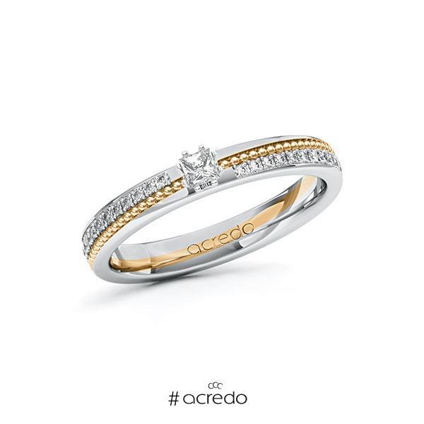 Verlobungsring in Weißgold 585 Roségold 585 mit zus. 0,396 ct. Prinzess-Diamant tw, vs tw, si von acredo