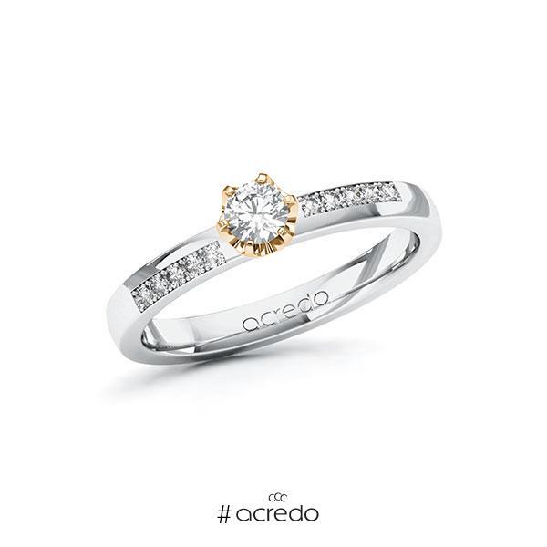 Verlobungsring in Weißgold 585 Roségold 585 mit zus. 0,3 ct. Brillant tw, si von acredo