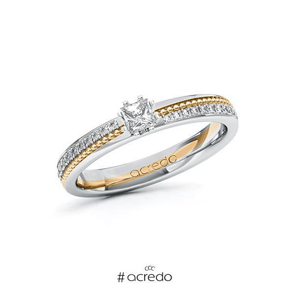 Verlobungsring in Weißgold 585 Roségold 585 mit zus. 0,496 ct. Prinzess-Diamant tw, vs tw, si von acredo